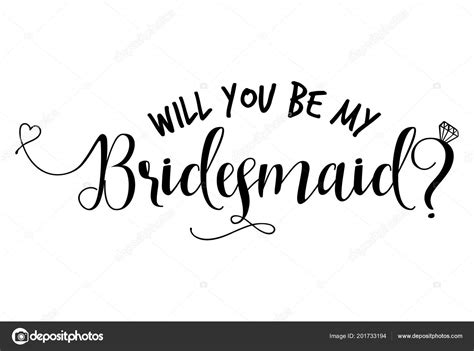 bridesmaid hand lettering typography text vector eps