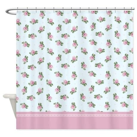 pastel blue and pink floral pattern shower curtain by