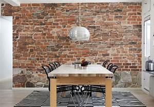 Papier Peint Style Industriel : papier peint brique pour un salon de style industriel ~ Dailycaller-alerts.com Idées de Décoration