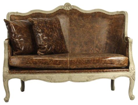 french country leather sofa adele french country top grain leather burlap settee