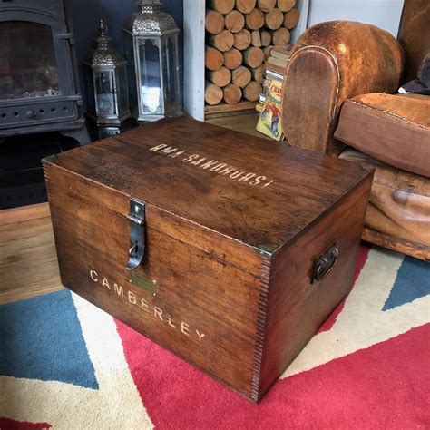 Jaipur cube sheesham storage coffee table cfs furniture uk. RMA Sandhurst Chest COFFEE TABLE Campaign Military Storage Trunk Sold | Dovetails Vintage