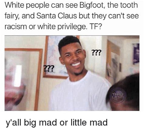 White Racist Memes - white people can see bigfoot the tooth fairy and santa claus but they can t see racism or white