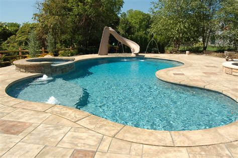 rustic stamped concrete patios pool decks  hardscapes
