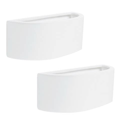 pair of contemporary modern curved white ceramic up