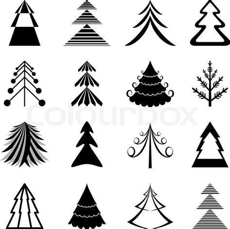 set  graphical christmas trees icons stock vector