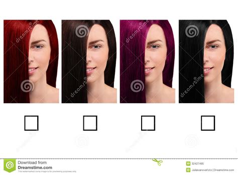 Hair Color Table With A Smiling Girl Royalty Free Stock