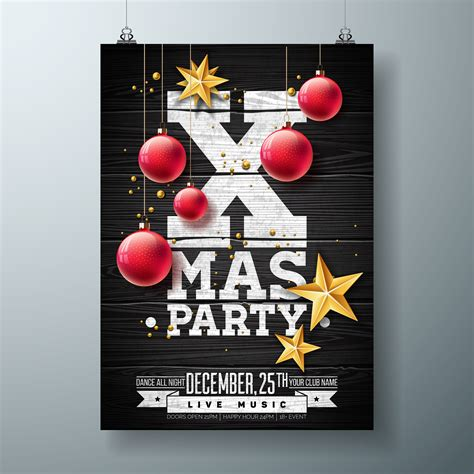 vector christmas party flyer design  holiday
