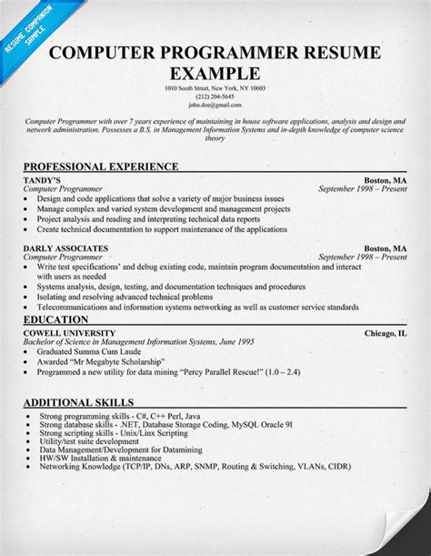 Computer Programmer Resume Exles simple resume sle writing tips and sles design bild
