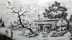 How To Draw Easy And Simple Village Scenery With Pencil
