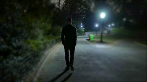 Man Walking Alone At Night In The Park. Shadow Silhouette ...