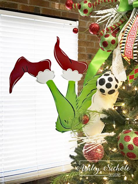 the grinch tree topper tree topper or tree decor grinch inspired legs ashleynichole designs