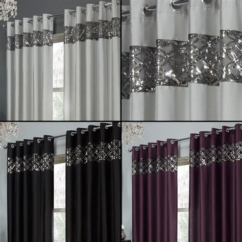 black sequin curtains sequin sparkle faux silk eyelet ring top curtains