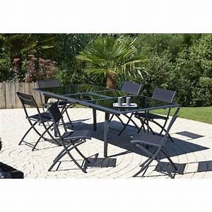 Ensemble Table De Jardin : ensemble table extensible de jardin 180 240 cm 6 chaises pliantes aluminium noir achat ~ Teatrodelosmanantiales.com Idées de Décoration