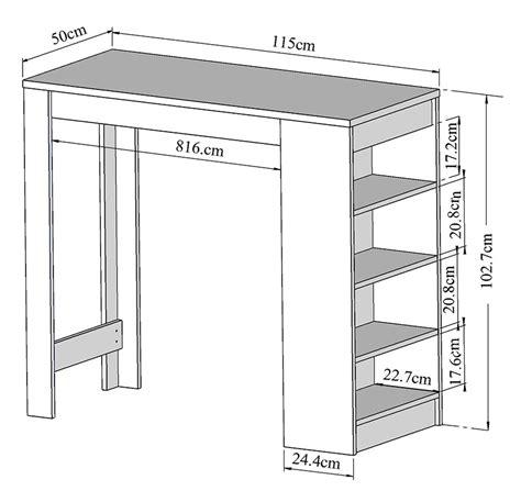 taille cuisine descriptif table de bar avec rangement with taille