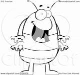 Pillbug Cartoon Coloring Standing Happy Clipart Outlined Vector Cory Thoman Royalty sketch template