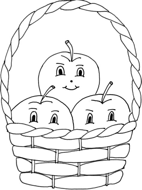 Apple Basket Coloring Page Sketch
