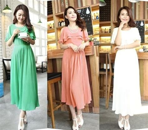 tips memilih model dress korea panjang  tubuh mungil
