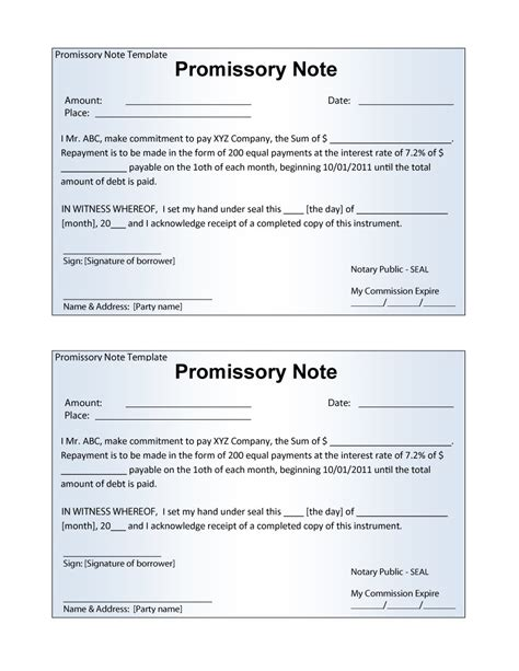 promissory note sample mbm legal