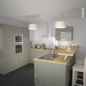 Bien cuisine avec ilot central et bar 14 cuisine for Petite cuisine équipée avec meuble contemporain salle a manger