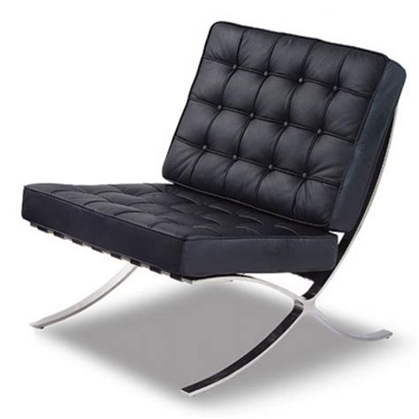 black leather contemporary barcelona chrome chair 163 499