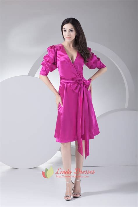 sparkling hot pink deep  neck knee length prom dress