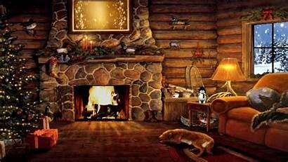Christmas Log Snow Fireplace Cottage Scene Cabin
