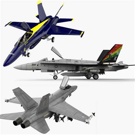 Fa18 Hornet Collection 3d Model .max .obj .3ds .lwo .lw