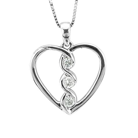 14k White Gold Heart 3 Stone Diamond Pendant Necklace (0. Anniversary Gemstone. Untreated Sapphire. Gold Open Bangle Bracelets. Chic Watches. Gold Bar Stud Earrings. Diamond Cut Diamond. Jewelry Earrings. Channel Bands