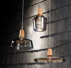 Modern clear glass and wood cap pendant lighting