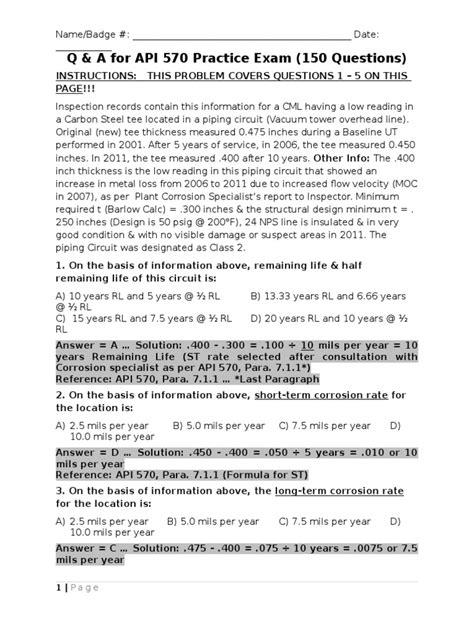 1 - API 570 Exam A (150 Q&A)   Pipe (Fluid Conveyance