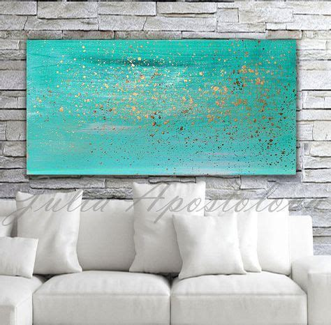 turquoise painting minimalist canvas wall art turquoise home decor art turquoise  gold