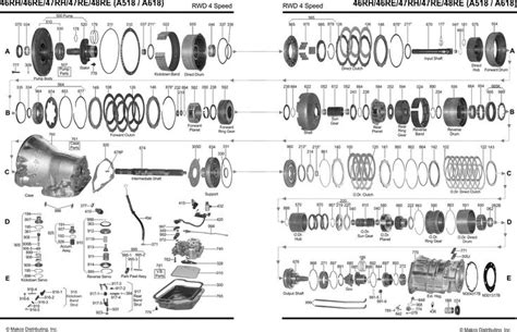 518 automatic overdrive diagram a518 46re a618 47re 48re transmission parts chrysler
