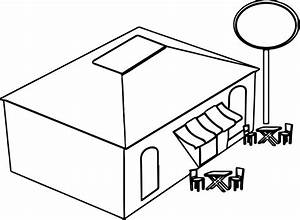Restaurant Building Coloring Page | Wecoloringpage