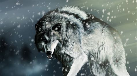 lobo bajo la nieve  hd fondoswikicom