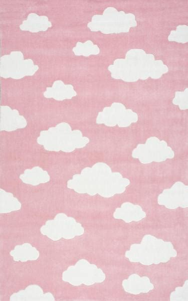 pink  white clouds rug