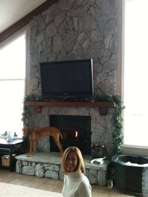 painted   mortared rock fireplace