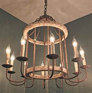 Adele French Cottage Rustic Chipped White Rust 10 Light