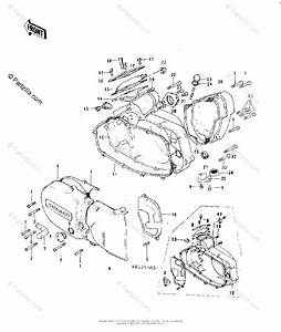 Kawasaki Motorcycle 1978 Oem Parts Diagram For Engine Covers   U0026 39 76