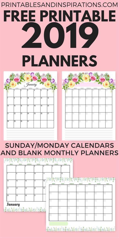 planner printable sunday monday calendar