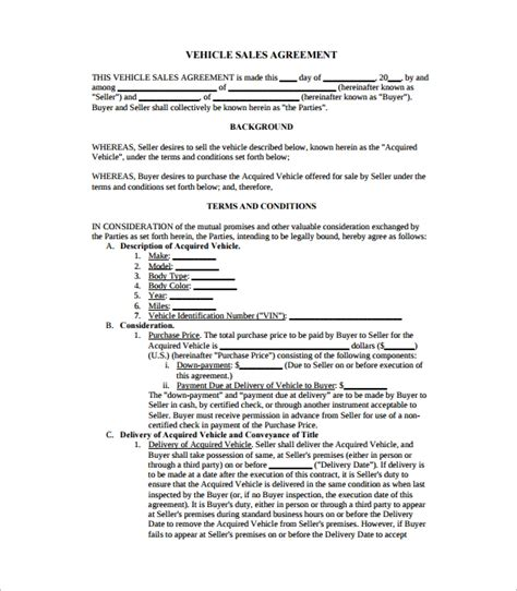 sample downloadable sales agreement templates