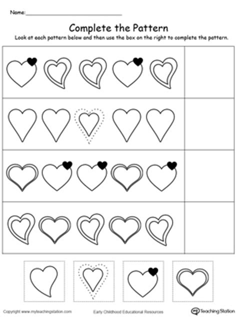 kindergarten patterns printable worksheets 608 | Cut and Glue to Complete The Heart Pattern
