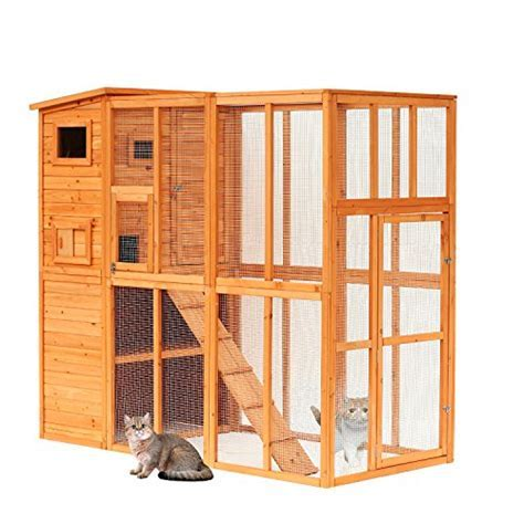 Pawhut Large Wooden Outdoor Cat Enclosure Cage with Ramp