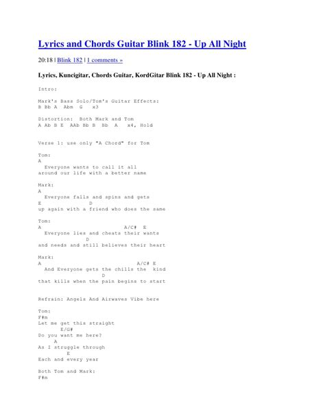 Check The Resume Lyrics by Lyrics And Chords Guitar Blink 182