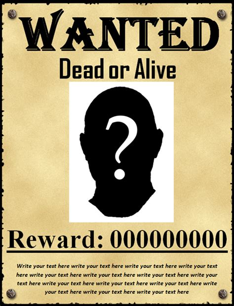 Wanted Poster Template 50 Printable Wanted Poster Templates Free Pdf Psd Designs