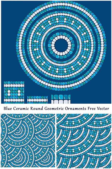 mosaic seamless pattern blue ornament vector