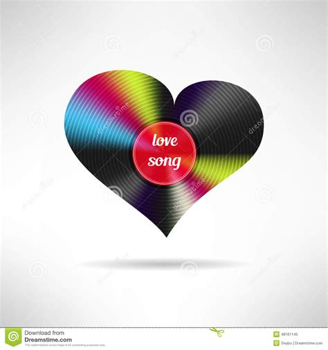 forme de coeur de vinyle chanson d amour vecteur illustration de vecteur image 48161145
