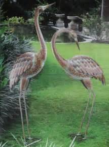 garden crane pair statues heron bird sculpture metal