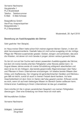 Garten Landschaftsbau Ausbildung Bewerbung by Muster Gt Bewerbung Als G 228 Rtner