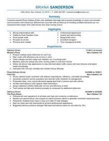 resume for driver deliveries pizza delivery drivers resume exles transportation resume sles livecareer