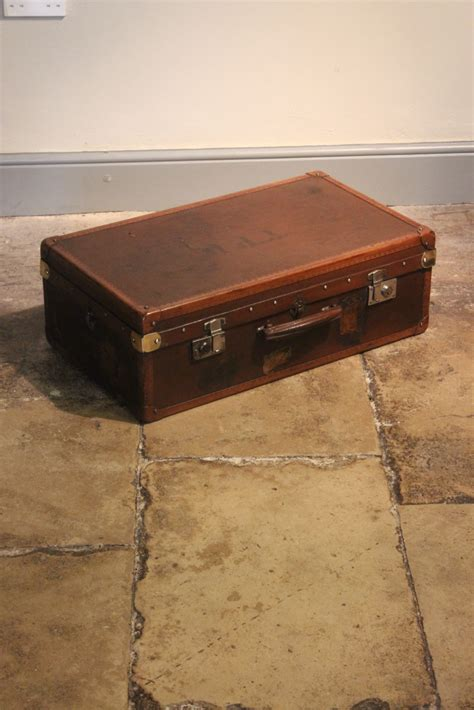 vintage leather for circa 1920s brass pinned leather suitcase 8839
